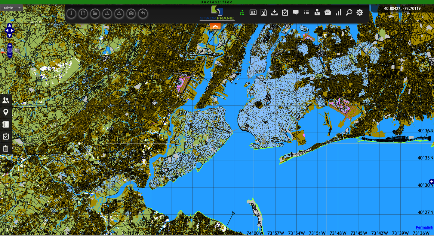 Magrathea is capable of generating extremely dense feature regions, such as  New York City